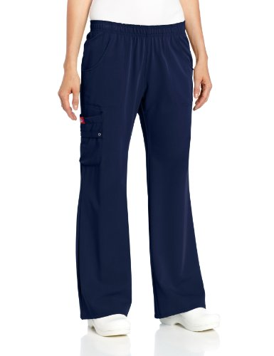 Flare Pants Dickies Scrubs (Dickies Scrubs Women's Xtreme Stretch Fit Elastic Waist, Navy, Large)