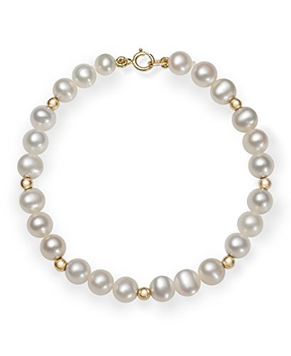 (Girls 14k Gold AA Quality Cultured Freshwater Pearl Bracelet, 6