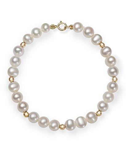 Girls 14k Gold AA Quality Cultured Freshwater Pearl Bracelet, 6