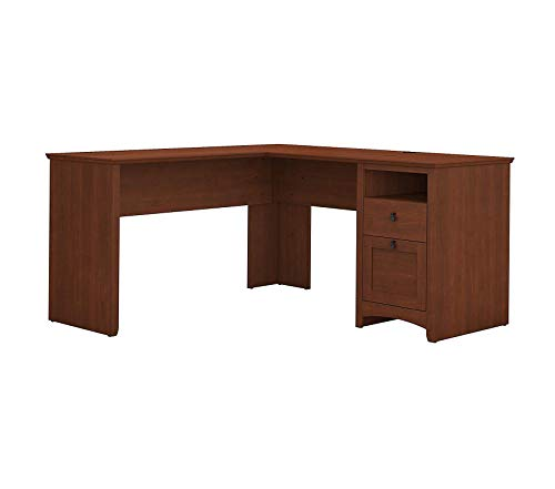 (Office Home Furniture Premium Buena Vista 60W L Shaped Desk with Drawers in Serene Cherry)