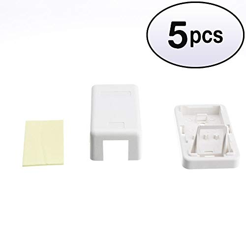 GOWOS (5 Pack) Blank Surface Mount Box for Keystones, 1 Hole, White Blank Surface Mount Box