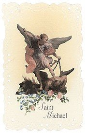Saint St Michael Protection Vintage Holy Prayer Pocket Card Printed in Italy