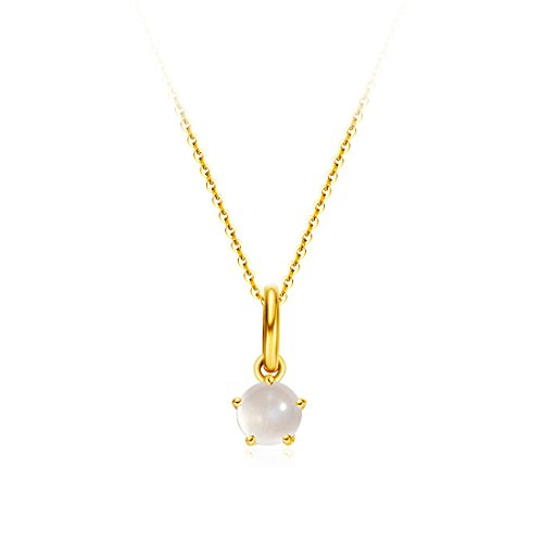 Carleen Solid 18K Yellow Gold Birthday Gemstone Solitaire June Birthstone Natural Moonstone Necklace Pendant Delicate Dainty Fine Jewelry For Women Girl, 18 (Moonstone Yellow Pendant)