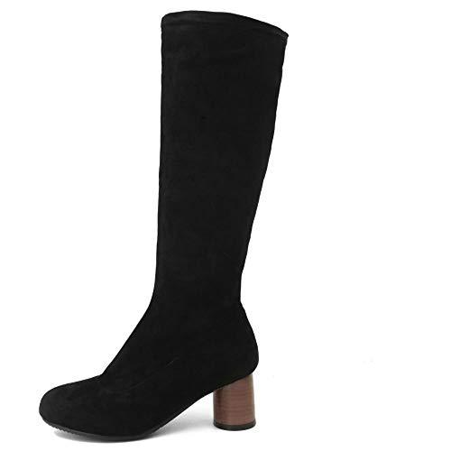 Bottes Talon Black Femmes Boots Taoffen Mi Stretch Bloc mollet Hiver x7BSO