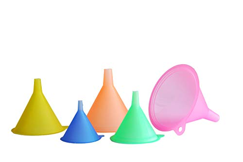 Purpose Funnel Set - Mirenlife 5 Sizes Candy Colors Plastic Funnel Set for General Purpose, Lab Car Kitchen Home Tools, Liquids Dry Goods