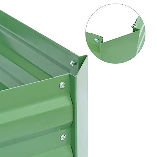 Metal Raised Garden Bed Kit Elevated Planter Box Outdoor Patio Frame For Vegetables 4' x 3' x 1', Green