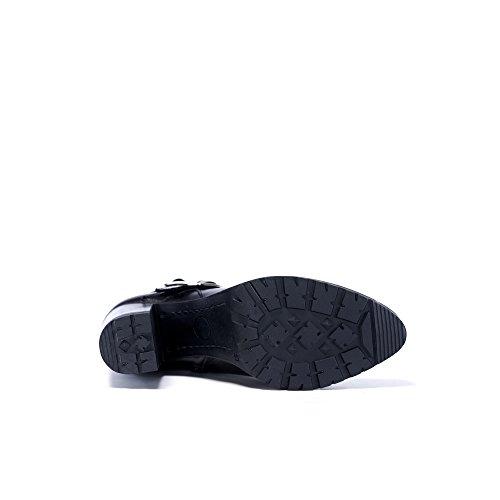 UMA Echtes Leder Frauenstiefel mit Plateau Schwarz