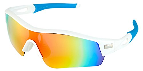 High Balance Tour, Performance Sports Sunglasses, 5 Interchangeable Lenses, Stay-Put Temple Sleeves, Case, Rx-Ready Insert,  White with Blue - Sunglasses Interchangeables Temples