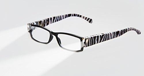 EVIDECO LED Reading Glasses with Light, LG Zebre Optic By Finess Power - Glasses Frames Zebra