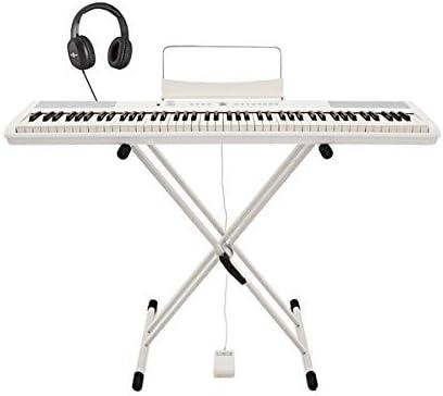 Piano de Escenario SDP-2 de Gear4music + Soporte Pedal y Auriculares Blanco