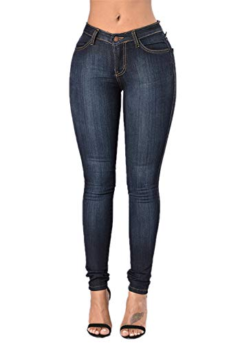 Skinny Jeans para Mujeres Alta Cintura Básica Denim Pantalones Slim Fit Azul Marino