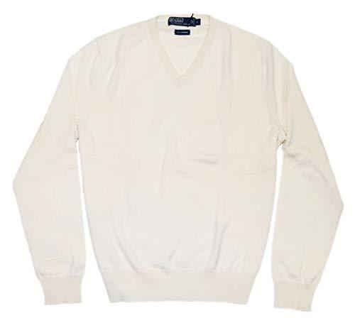 Ralph Lauren Polo Mens Cashmere V-Neck Pullover Sweater Cream Ivory White (Large) ()
