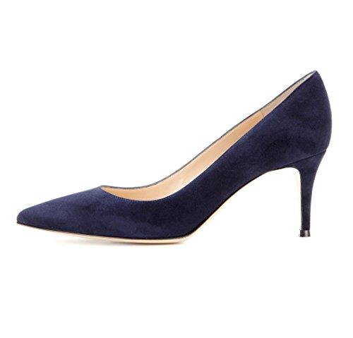 Mid Eldof HeelPumps Pumps Classic Womens Toe Heels Pointy Heels Navy Kitten Heel Office 5cm 6 wqvzrw