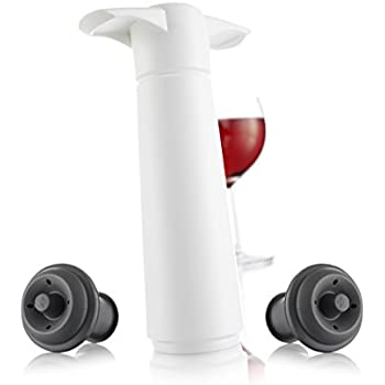 The Original Vacu Vin Wine Saver with 2 Vacuum Stoppers – White