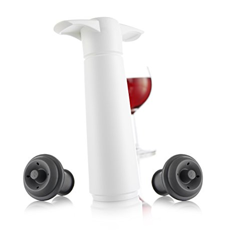 White Wine Bottle Stopper (The Original Vacu Vin Wine Saver with 2 Vacuum Stoppers – White)