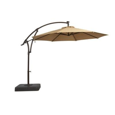 11 ft. Offset LED Patio Umbrella in Tan (Hampton Bay Patio Umbrella)