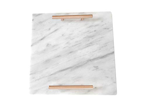 Cararra Blanco Marble Slab Cheese Board with Brushed Metal Handles (Brushed Copper)