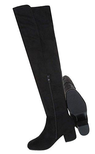 Damen Stiefel schlicht | Overknees Leder-Optik | Langschaftstiefel Boots | Overknee Nieten | Club Stiefel | Party Gogo Boots | Schuhcity24 Schwarz