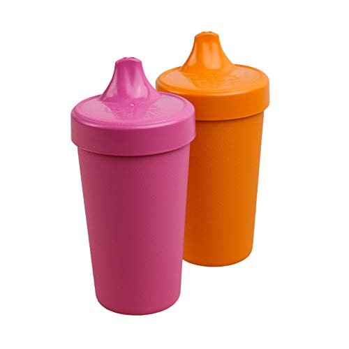 Re-Play Made in The USA 2pk No Spill Sippy Cups for Baby, Toddler, and Child Feeding - Bright Pink/Orange