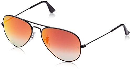 Ray-Ban RB3025 Aviator Flash Mirrored Sunglasses, Shiny Black/Orange Gradient Flash, 55 mm