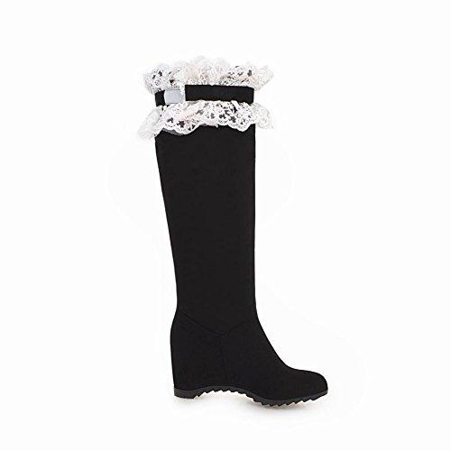 Bow Black Women's Mid Carolbar Boots Lace Heel Long Fashion C8wqXqf