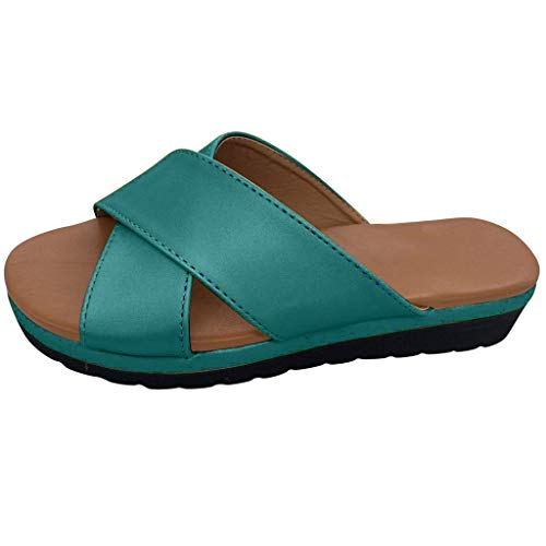 TnaIolral Women Slippers Wedges Open Toe Thick Bottom Roman Beach Sandals (US:6.5, Green)