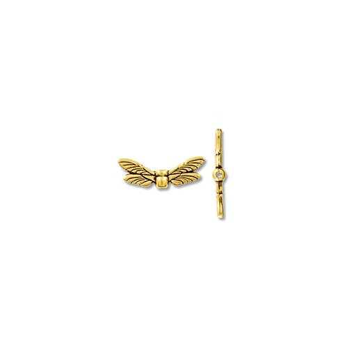 Bead Dragonfly Wings 20x6mm Pewter Gold Plated (1-Pc)