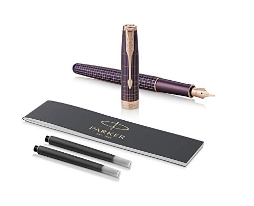 PARKER Sonnet Fountain Pen, Prestige Chiselled Purple Matrix Rose with Gold Trim, Solid 18k Gold Medium Nib