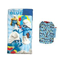 Smurf sleeping bag with a backpack and flashlight., Outdoor Stuffs