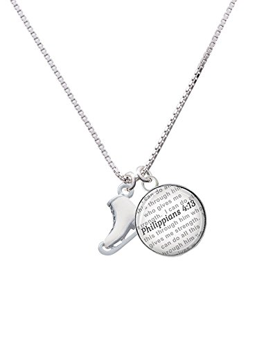 Silvertone 3-D White Ice Skate - Bible Verse Philippians 4:13 Glass Dome Necklace, 18