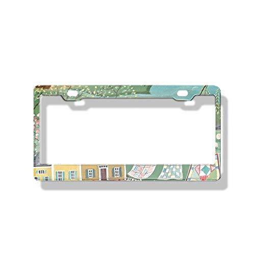 - luckmx License Plate Frame, 2 Pcs Holes Car Licence Plate Covers for US Vehicles - Folk Art Landscapes