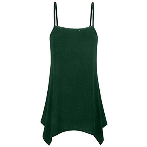 Chic Col Haut Col Mode Hemd Gilet Top Blouse Chemisier Loose Sexy Longshirt Été Vert Tank Débardeur Casual Tefamore ❤️Femme Rond shirt Irrégulier V T U7EqY