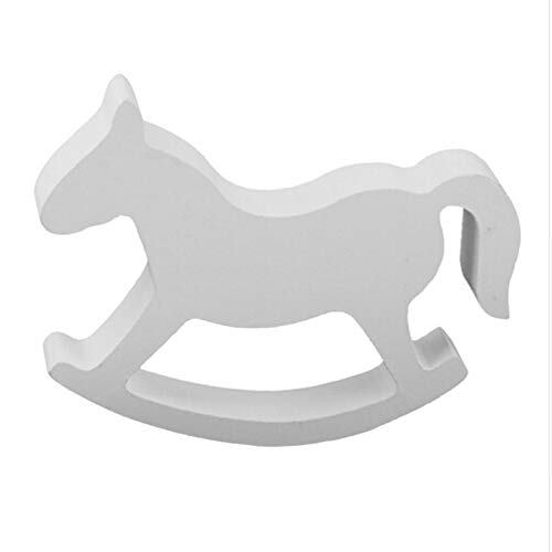 Cell's world White Wooden Small Rocking Horse Balance Home Decor Kids Toys wood hand Carved Gifts Children39;s Room Decoration ()