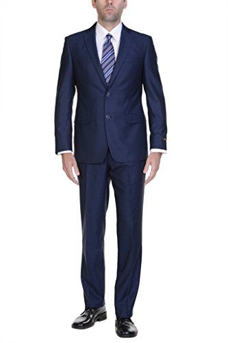 P&L Men's 2-Piece Two Button Slim Fit Suit Blazer Jacket & Flat Front & Pants Set ()