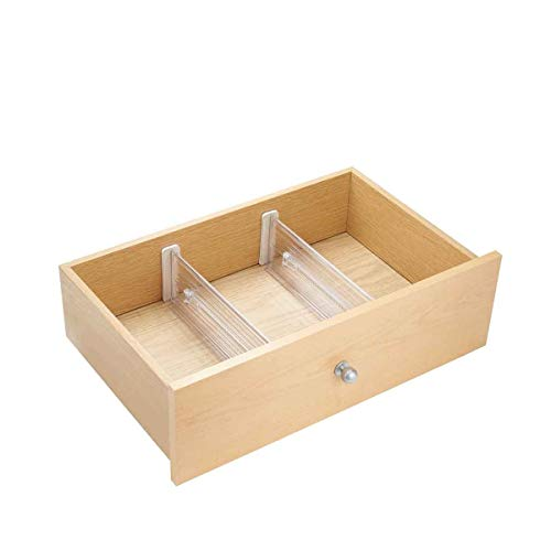 Plastic Adjustable Deep In Drawer Dividers for Storage, Organization, Utensils, Kitchen, Dresser, Desk, Bathroom DrawersInterDesignLinus62330Set of 2, Includes 4 PiecesClear
