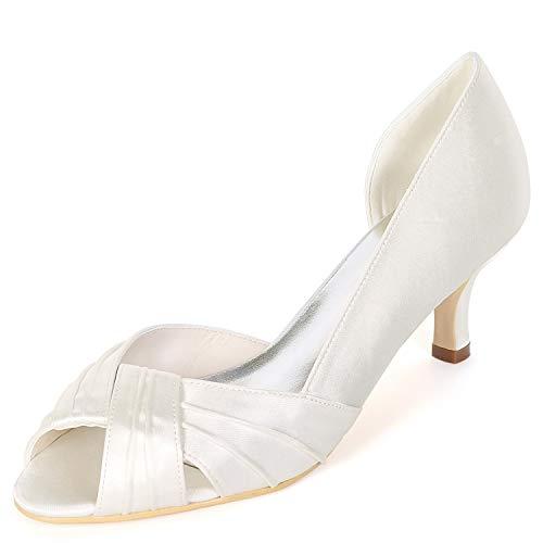 L@YC Zapatos De Boda De Las Mujeres / 11cm del TalóN De La Primavera del Pie del Dedo del Pie Peep Toe Bajo Plataforma Prom SatéN CláSico Ivory