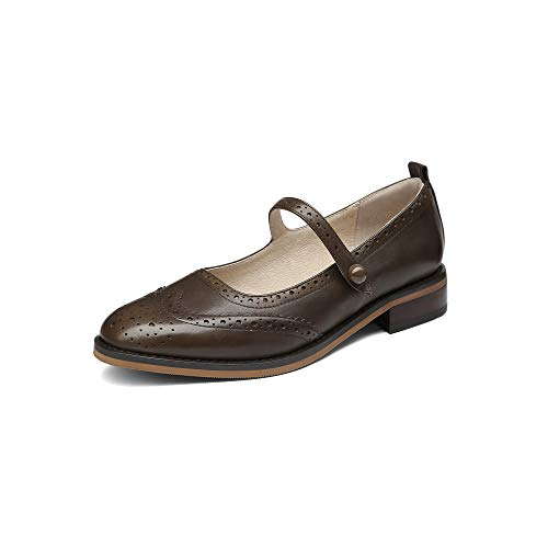 MANRINO Mary Classic Real Leather Comfortable Womens Slip On Mary Jane Flat Oxford Shoes for Lady Thin Ankle Strap Block Kitten Heel Genuine Leather Dress Shoes (US 9, Brown) ()