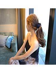 SPHTOEO Beauty Ribbon Rose Flower Bow Jaw Clip Barrette Hair Claws Headwear Hair Jewelry for Women Accessories (Dark Blue)