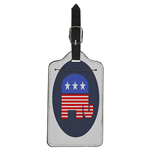(Pinbeam Luggage Tag Blue Democrat American Republican Elephant Red Party Head Suitcase Baggage Label)
