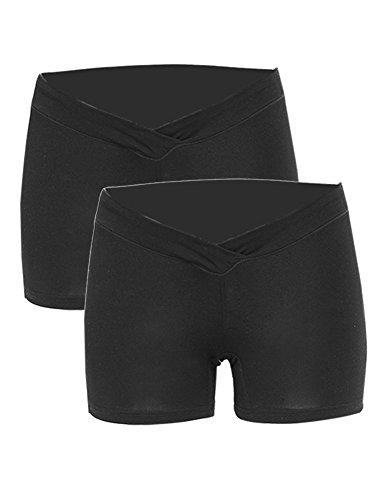 2pcs-Pack Maternity Mother Comfy Cotton Short Pants Boxer Briefs M 2pcs-Pack Black by Maacie