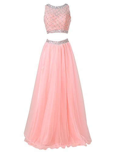 Callmelady Two Piece Long Prom Dresses For Women With Sleeveless Sequined Top (Coral, US2)