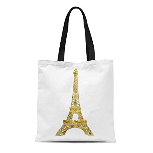 Semtomn Cotton Line Canvas Tote Bag Glam Gold Eiffel Tower High Paris Chic Bling Girly Reusable Handbag Shoulder Grocery Shopping Bags