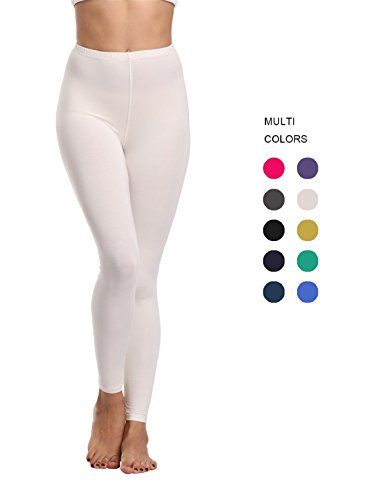 Cotton Spandex Tights - FASHIONBUY Womens Cotton Stretch Legging Super Soft High Waist Leggings Pants Various Colors White