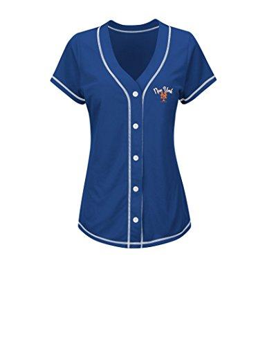 MLB New York Mets Women's T4L Fashion Tops, Royal/White, (New York Mets Apparel)