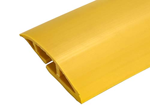 6.5 Feet Cable Protector + Cord Cover - Durable Yellow PVC is Flexible, Odor Free, Easy to Unroll and Open - Conceal Wires at Home, Office, Warehouse, Workshop, Concerts