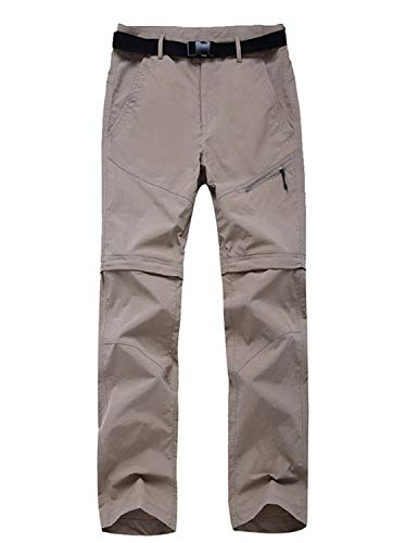 (LANBAOSI Women's Outdoor Lightweight UV Protection Hiking Convertible Pants Khaki)