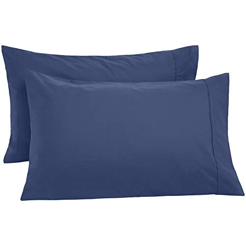 AmazonBasics Ultra-Soft Pillowcases- Breathable, Easy to Wash - Set of 2, Midnight Blue, King