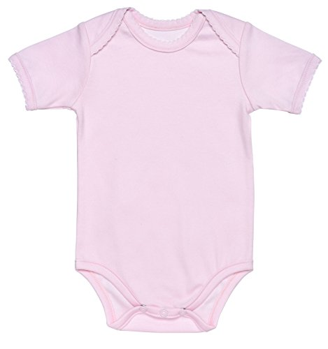 Girl Short Sleeve Lap Shoulder One-Piece Bodysuit 0-3M Solid Pink Organic Cotton ()