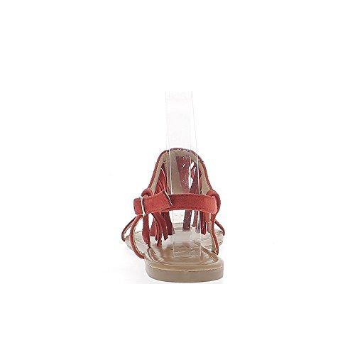 Darstellung rot Spartaner Sandalen Wildleder mit dünnen Flanschen Fringe und Nägel