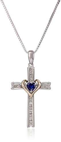 (Sterling Silver and 14k Gold Created Blue Sapphire Heart and Diamond-Accent Cross Pendant Necklace, 18